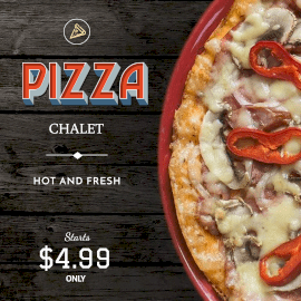 Online Editable Chalet Cheesy Capsicum Spicy Mexican Pizza GIF Post