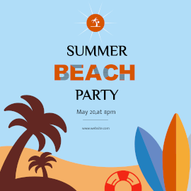 Online Editable Blue Summer Beach Party Event GIF Post