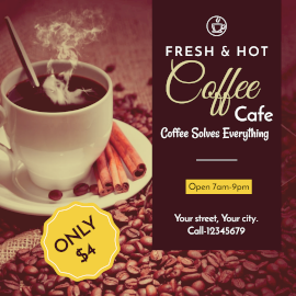 Online Editable Cafe Promotion Instagram Ad