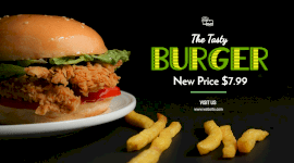 Online Editable New Price for Burger Facebook App Ad