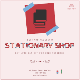 Online Editable Stationery Shop Bulk Purchase Offer GIF Post