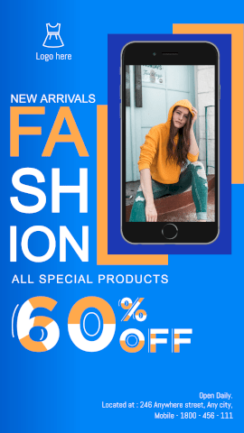 Fashion ad sale with phone mockup GIF