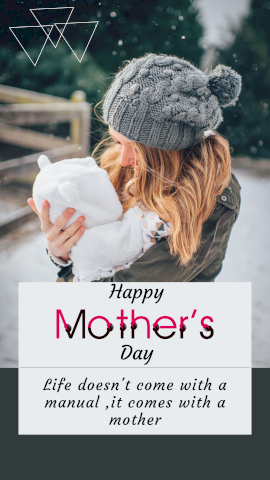 Online Editable Mom Holding Child Mothers Day Quotes Story Design