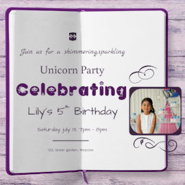 Online Editable Unicorn Themed Birthday Party Invitation