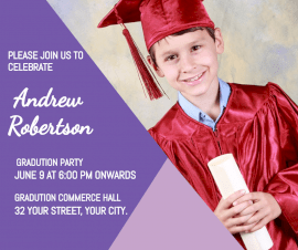 Online editable Andrew Robertson's Graduation Party Invitation Facebook Post