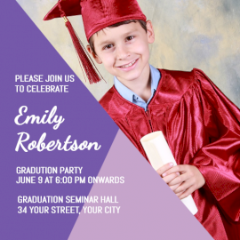 Online Editable Purple Graduation Party Invitation