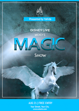 Online Editable Magic Show for Kids Flyer