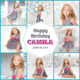 Online Editable Camila Birthday Animated Photo Collage GIF Post
