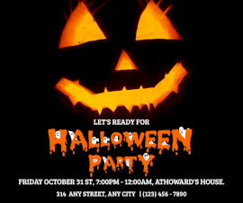 Online Editable Halloween Party Invitation Facebook Post