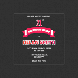 Online editable 21st birthday party invitation