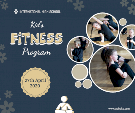 Online Editable Kids Fitness Program Facebook Post
