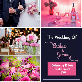 Online Editable Wedding Invitation at Garden Palace 4 Grid Photo Collage