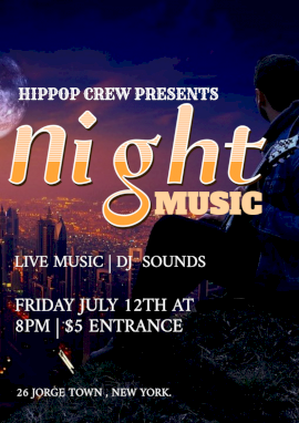 Online Editable Live Music at Night Party Flyer