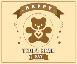 Online Editable National Teddy Bear Day September 2 Facebook Post