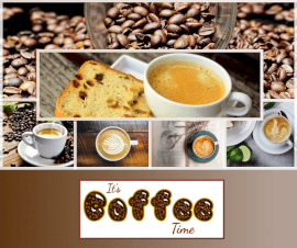 Online Editable It's Coffee Time Fancy Text 6  Grid Photo Collage