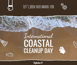 Online Editable International Coastal Cleanup Day Awareness Facebook Post