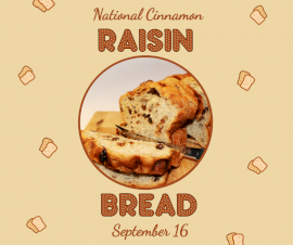Online Editable National Cinnamon Raisin Bread Day September 16 Facebook Post
