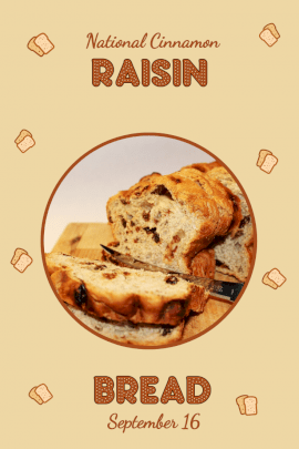 National Cinnamon Raisin Bread Day - Pinterest Graphic
