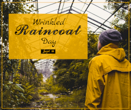 Online Editable Wrinkled Raincoat Day September 16 Facebook Post