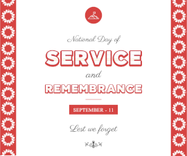 Online Editable National Day of Service and Remembrance Day September 11 Facebook Post