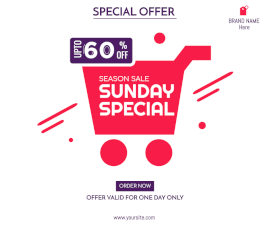 Online Editable Sunday Special Offer Facebook Post