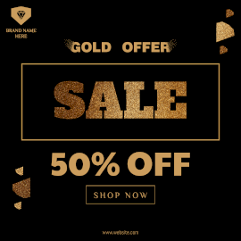 Online Editable Golden Sale Offer Instagram Ad