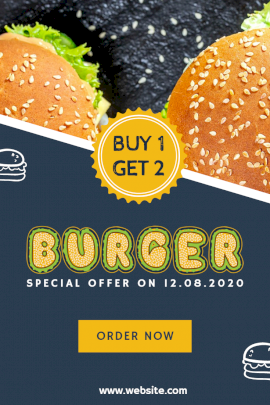 Burger Buy 1 Get 2 -  Pinterest Graphic
