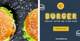 Online Editable Special Offer on Burgers Facebook Ad Post