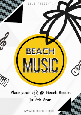 Online Editable Abstract Beach Party Music Flyer Marketing Materials