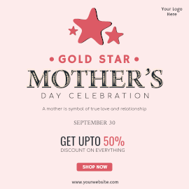 Online Editable Gold Star Mother's Day Offers Instagram Ad