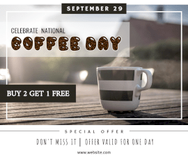 Online Editable National Coffee Day September 23 Facebook Post
