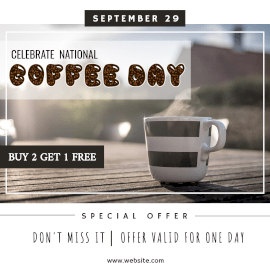 Online Editable National Coffee Day Offers Instagram Ad