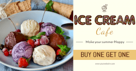 Online Editable Summer Offers at the Ice cream Parlor Facebook Ad post