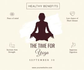 Online Editable The Time for Yoga Facebook Post