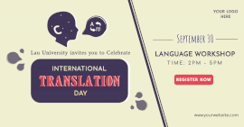 Online Editable International Translation Day Promotion Facebook Ad post