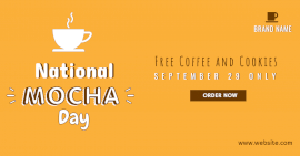 Online Editable Yellow Mocha Day Invite Facebook Ad Post