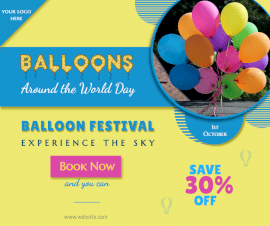 Online Editable Balloons Around the World Day October 1 Facebook Post