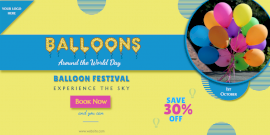 Online Editable Balloons Around the World Day Festival Twitter Post