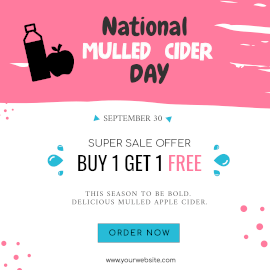 Online Editable National Mulled Cider Day September 30 Super Sale Instagram Ad