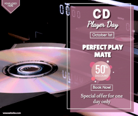 Online Editable CD Player Day October 1 Sale Facebook Post
