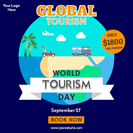 Online Editable World Tourism Day September 27 Offer Instagram Ad