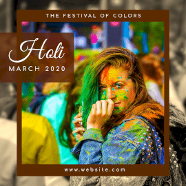 Online Editable Holi 2020 Wishes Social Media Posts Instagram Ad