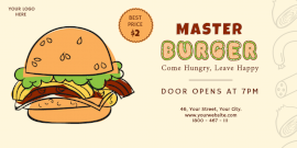 Online Editable Master Burger with Illustration Twitter Post