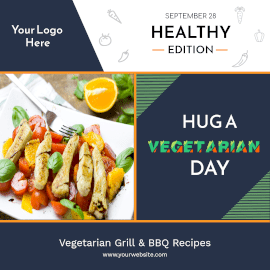 Online Editable Hug a Vegetarian Day September 28 Instagram Ad