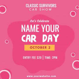 Online Editable Name Your Car Day October 1 Social Media Post