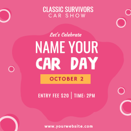 Online Editable Name Your Car Day October 1 Car Show Instagram Ad