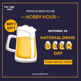 Online Editable National Drink Beer Day September 27 Special Offer Instagram Ad