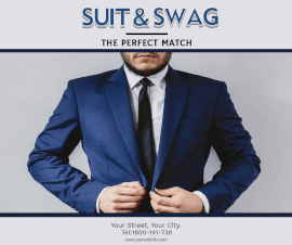 Online Editable Blue Suit and Swag Facebook Post