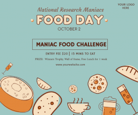 Online Editable National Research Maniacs Food Day Facebook Post