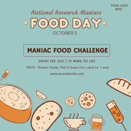 Online Editable National Research Maniacs Food Day Instagram Ad